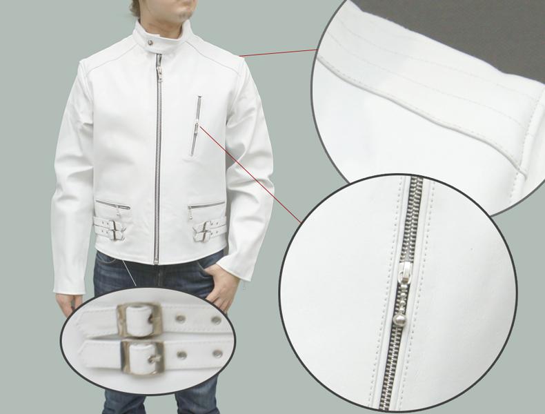 メンズライダースジャケット カウレザーシングルライダースレザージャケット
