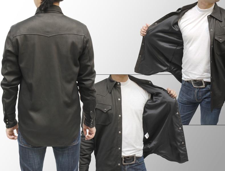 メンズ レザーシャツ ディアスキン(鹿革) ディアスキンレザーシャツジャケット 7965