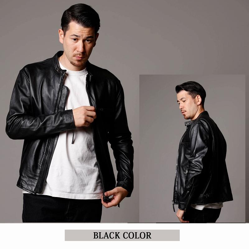 Mo-Laws ラム革 シングルライダースジャケット メンズ mlrj0111 ブラックカラー