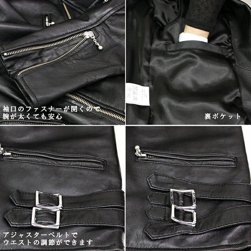 Mo-Laws ラム革 ダブルライダースジャケット UK メンズ ブラック/ネイビー mlrj0444